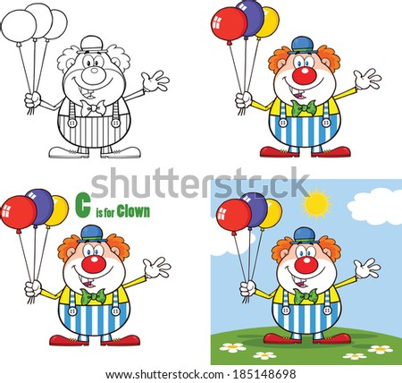 Funny Clown Cartoon Characters 3. Vector Collection Set - stock vector