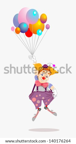Funny clown flying with balloons - stock vector