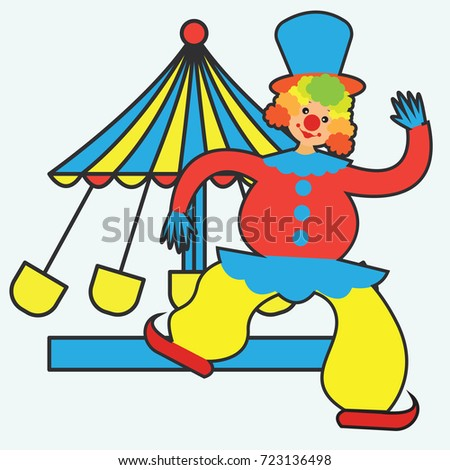 funny clown perform in front of a tent. vector illustration