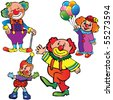 Funny clowns on a white background. Vector art-illustration. - stock vector