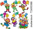 Funny clowns with balloons in the form of letters on a white background. Vector art-illustration. - stock vector