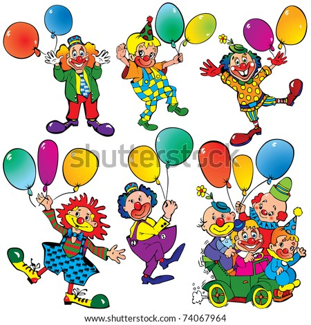 Funny clowns with balloons on a white background. Vector art-illustration. - stock vector