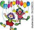 Funny clowns with the inscription childhood on a white background. Vector art-illustration. - stock vector