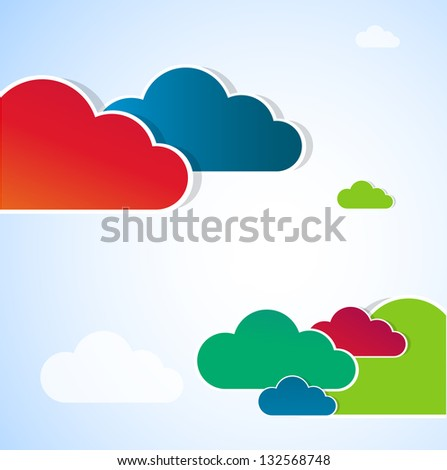 Funny color clouds. Vector - stock vector