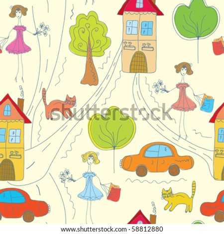 Funny color seamless pattern with girl in the town - stock vector