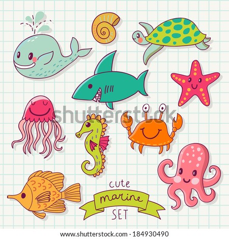 Funny color set with sea live. Cute marine set in vector. Whale, octopus, jellyfish, fishes, seahorse, turtle, starfish and crab in cartoon card - stock vector