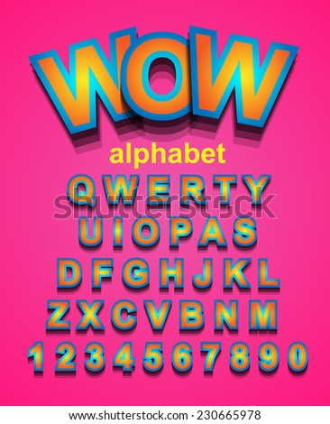 Funny Colorful Alphapet Font to use for children's parties invitations, school event posters, funny games descriptions, litttle boys brochure and so on! - stock vector