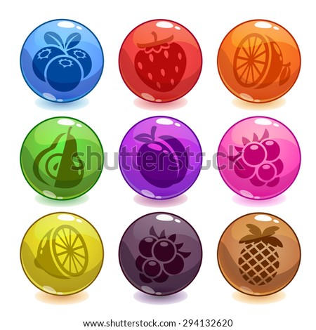 Funny colorful bubbles with fruit icons incide, isolated on white, funny vector game assets - stock vector
