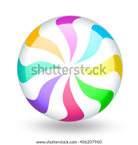 Funny colorful candy lollipop cartoon. Vector illustration, clip-art, isolated on white background - stock vector