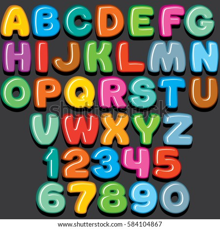 Funny Colorful Comics Kid Font. Sweet Candy or Fridge Magnet Style. Vector 3D Letters Set For Text and Design.