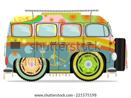 Funny colorful hippie car. Vector illustration without gradients on one layer.  - stock vector