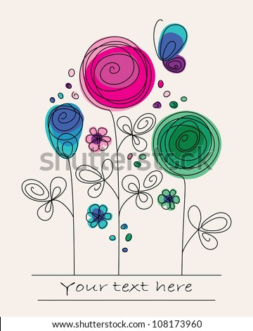 Funny colorful illustration with abstract flowers and butterfly - stock vector