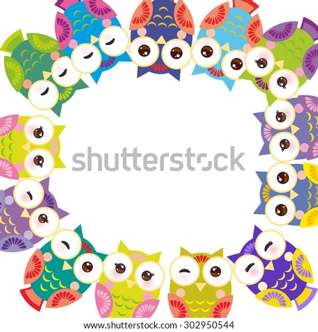 Funny colorful owls on white background card template. Vector - stock vector