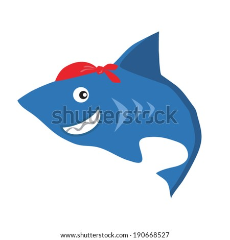 Funny colorful shark vector illustration