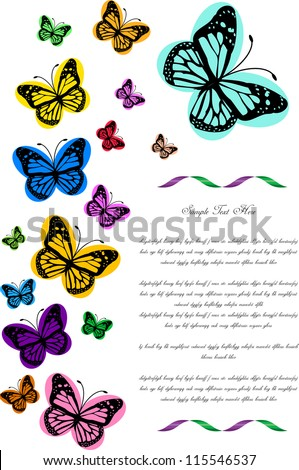funny colorful vector backdrop design with butterflies and place for your text isolated on white background