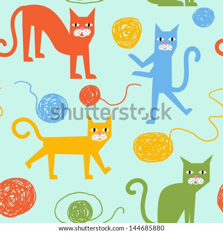 Funny colorful vector seamless pattern with cheerful cats - stock vector