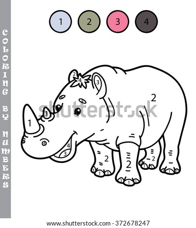 funny coloring by numbers game. Vector illustration coloring by numbers game of cartoon rhino for kids