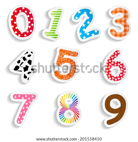 Funny Comic Numbers Vector Illustration - stock vector