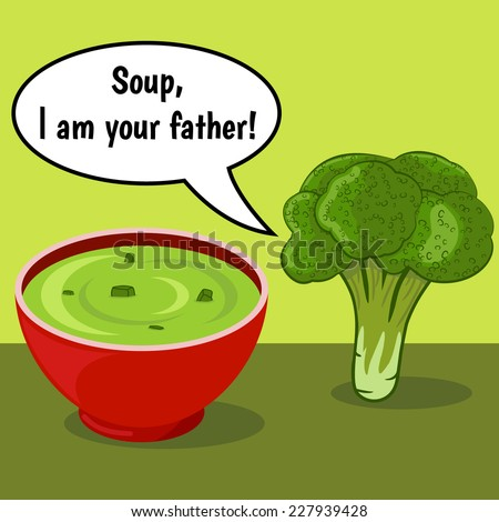 Funny comic with broccoli and vegetable soup over green background with dialog - stock vector