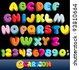 Funny Comics Font. Vector Cartoon Alphabet with All Letters and Numbers - stock photo