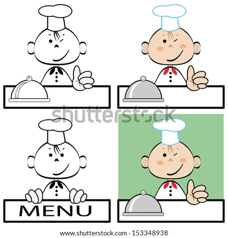 Funny cook, vector. - stock vector