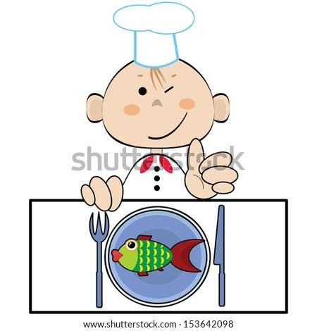 Funny cook with fish on the plate, vector. - stock vector