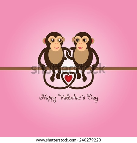 Funny couple of cute monkeys in love - stock vector
