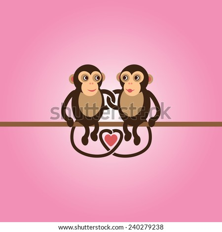 Cute cartoon monkeys in love - photo#22