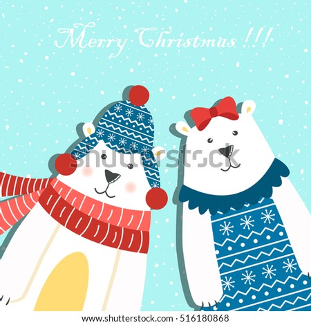 Funny couple of polar bears on a blue background with snow