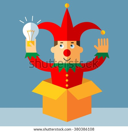 Funny Court Jester  get the idea holding bulb thinking outside the box. Flat style vector illustration   - stock vector