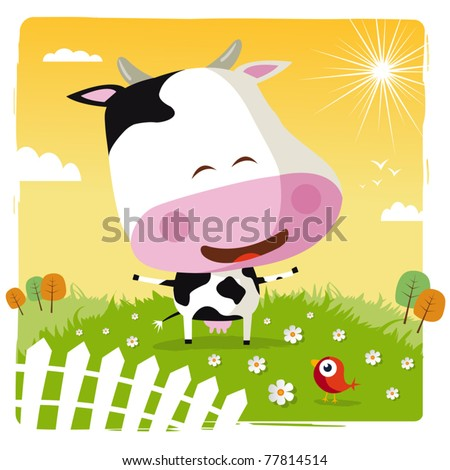 funny cow - stock vector