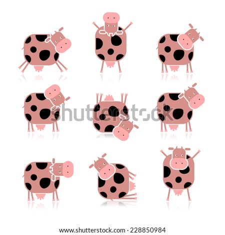 Funny cow, collection for your design - stock vector