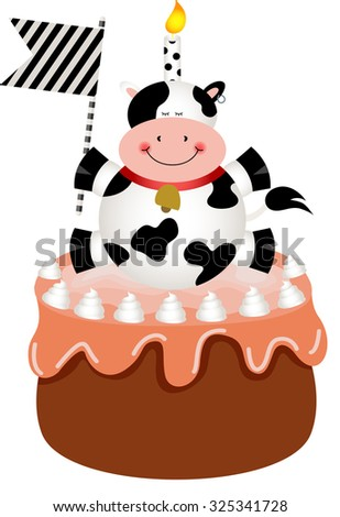 Funny cow on birthday cake - stock vector