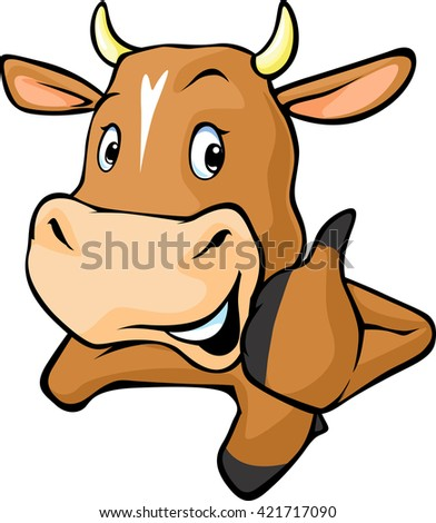 Funny cow peeks out from behind a white surface - vector cartoon illustration. Cow showing thumbs up. - stock vector