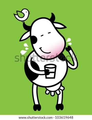 Funny cow with glass of milk - stock vector