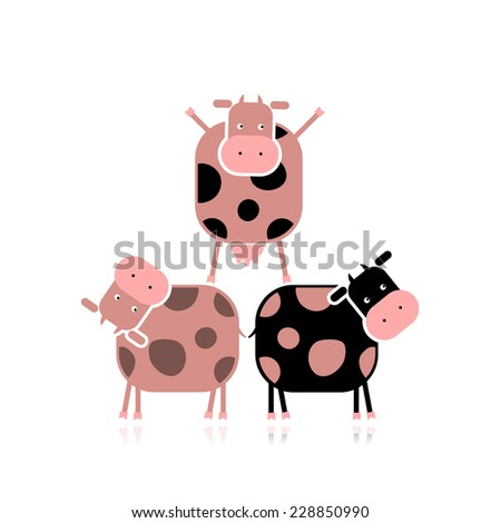 Funny cows for your design - stock vector