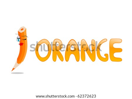 Funny crayons for children education. Orange color.