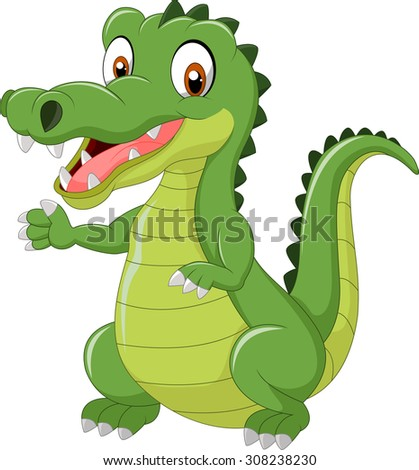 Funny crocodile standing and posing with hand waving