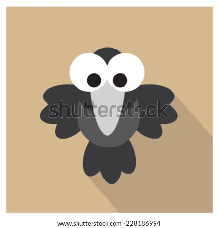 funny crow icon. vector - stock vector