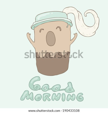 funny cup of coffee or tea stretch oneself, wonderful breakfast, vector illustration, hand drawn - stock vector