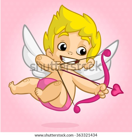 Funny cupid with bow and arrow. Illustration of a Valentine's Day. Vector isolated - stock vector
