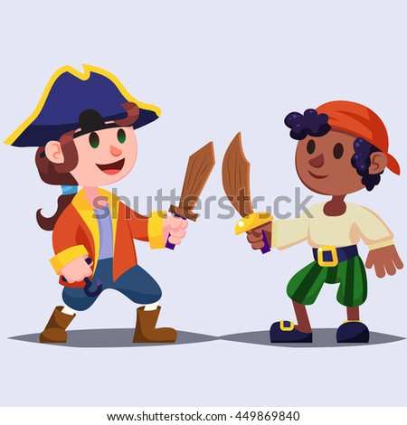 Funny cute cartoon Boys pirates kids with wooden sword. vector illustration