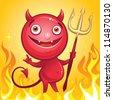 funny cute cartoon devil smiling - stock vector