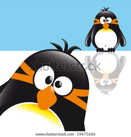 Funny Cute Comic Style Penguin sitting on the ice in front of you