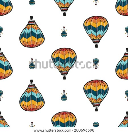 Funny cute hand drawn kids toy aeronautic transport. Baby bright cartoon aerostat and balloon vector seamless pattern on white background. Set of isolated elements. Chess grid order - stock vector