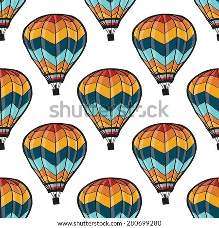 Funny cute hand drawn kids toy aeronautic transport. Baby bright cartoon balloon vector seamless pattern on white background. Set of isolated elements. Chess grid order - stock vector