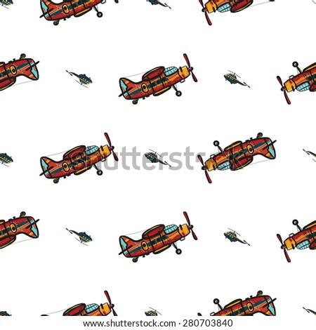 Funny cute hand drawn kids toy aeronautic transport. Baby bright cartoon chopper and biplane vector seamless pattern on white background. Set of isolated elements. Chess grid order - stock vector