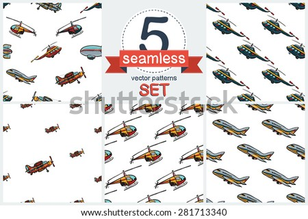 Funny cute hand drawn kids toy aeronautic transport. Baby bright cartoon chopper, helicopter, biplane, airship, plane. Set of 5 vector seamless pattern. Chess grid order pattern. - stock vector