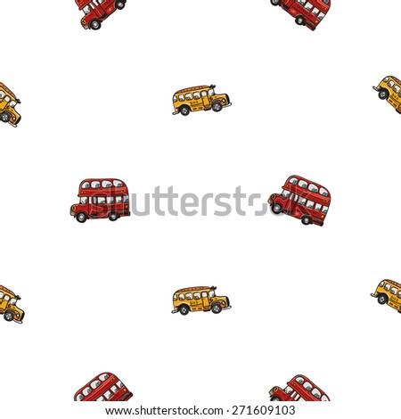 Funny cute hand drawn kids toy transport. Baby bright cartoon bus vector seamless pattern on white background. Set of isolated elements. Chess grid order