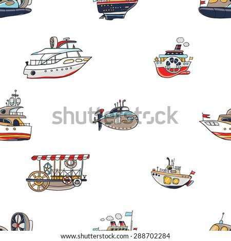 Funny cute hand drawn kids toy water transport for nursery decoration. Baby bright cartoon boat, yacht, hovercraft, water-bus, steamship, cruise, submarine vector seamless pattern on white background. - stock vector